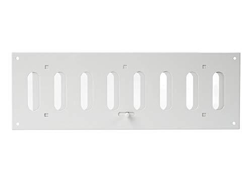 Schiebegitter aus Metall 300x100mm / Spaltgitter rechteckig Metall mit beweglichen Lamellen - Weiß