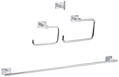 GROHE Essentials Cube Set Accessori Bagno 4 in 1, Ottone, Cromo, con 4 Pezzi, 40778001