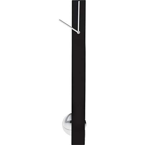 Kare Design Wanduhr Pendulum, moderne, lautlose Pendeluhr, lange, schmale, schwarze Designpendeluhren mit Quarzuhrwerk, schwarz-silber, (H/B/T) 65x6x6cm