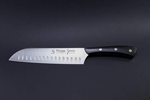 GC Enrique García Cuchillo Cocinero Japonés Santoku Alveolado 18 cm Mango Micarta...