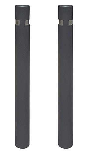 kit 2 Pilonas fijas modelo City. Bolardo de hierro con parte superior en acero inoxidable de 95x1000 mm