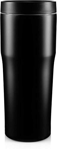 BOHORIA® Premium Edelstahl Kaffeebecher-to-Go 500ml | Isolierbecher – Thermo-Becher – Doppelwandig & Vakuumisoliert - 500 ml – Reise-Becher Kaffee und Tee zum Mitnehmen – Autobecher Travel Mug (Onyx)