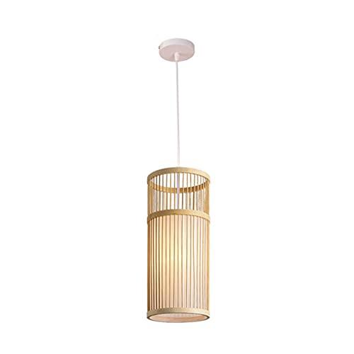 KAIKEA Lámpara de araña de bambú moderna, lámpara colgante de ratán natural vintage, lámpara de techo de estilo retro japonés E27, lámpara de techo de ratán de bambú para sala de estar, hotel, comedor