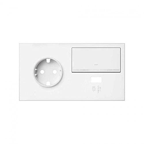 Kit front 2 elementos con 1 tecla regulable, 1 cargador USB y 1 base enchufe Schuko, 4 x 15 x 8 centímetros, color blanco mate (referencia: 10020209-230)