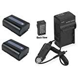 TWO 2 Batteries + Charger for Sony NP-FH30, Sony NP-FH40, Sony NP-FH50, Sony NP-FH60