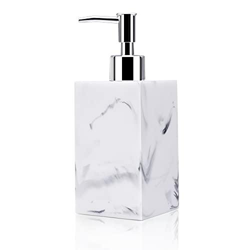Dispensador de jabón, 500 ml de resina para loción de mano, diseño de mármol, dispensador de jabón de manos rectangular para encimeras de baño cocina de manos recargable detergente para platos champú
