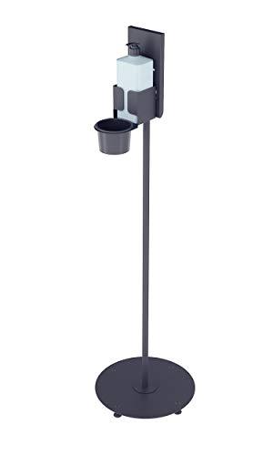 Magnet Ltd Desinfektionsständer für Desinfektionsmittel der Hände - Säule mit rundem Standfuss - Idealer Desinfektionsspender für Öffentliche Gebäude (SDM-1) (Schwarz)
