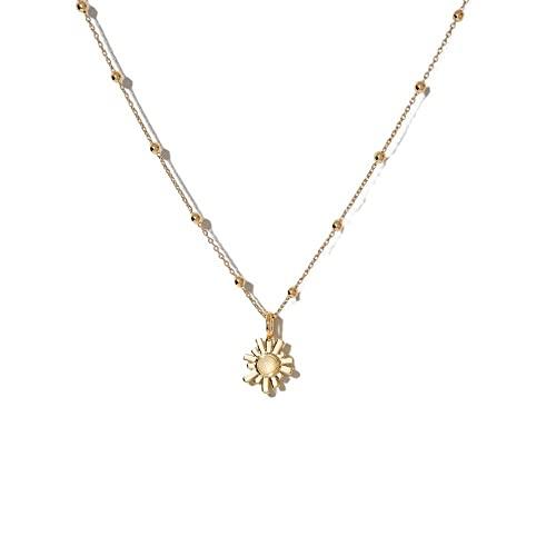 Collana Collana con elementi floreali europei e americani d'oltremare Collana con pietre di luna REBECCA in stile semplice con catena a clavicola