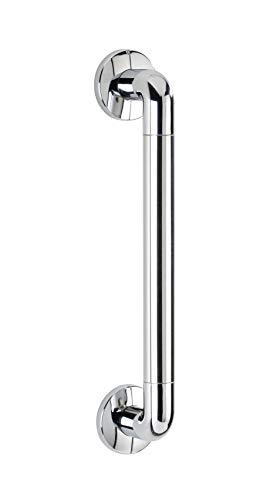 WENKO Wandhaltegriff Secura 43 cm lang, für sicheren Halt in Dusche, Badewanne und an der Toilette, stabiler Haltegriff zum Bohren, aus rostfreiem Aluminium & Kunststoff, 43 x 7 x 8 cm, Chrom