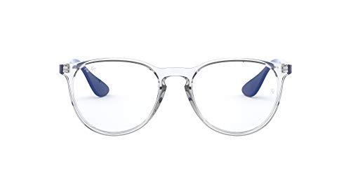 Ray-Ban Women's RX7046 Erika Rectangular Prescription Eyeglass Frames, Transparent & Degrade Blue/Demo Lens, 51 mm
