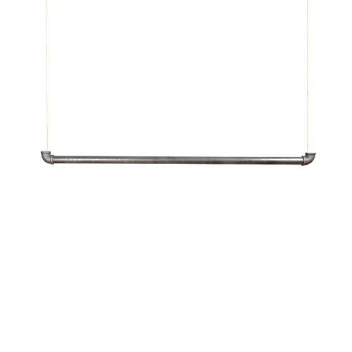 Natural Goods Berlin 1x Hängegarderobe Pipe Gard Swing | frei hängende Industrial Vintage Kleiderstange Deckenmontage am 5m Seil höhenverstellbar | Wasserrohre Fitting | DIY (90cm, weißes Seil)