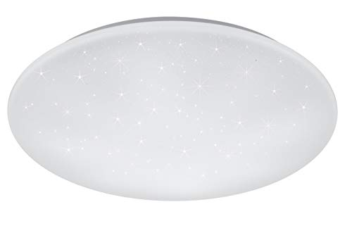 Reality Leuchten Kato R67609100 LED Deckenleuchte, Acryl Weiß, 27 Watt, Helligkeit und Lichtfarbe einstellbar, Star Light Effekt