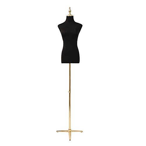 YHAIYU Weibliche Schneider Dummy Mannequin Modeschöpfern Dummies Fashion Students Anzeige Büste Torso mit Einstellbarer Höhe Metallhaltig für Kleidung Ausstellungsstand,L