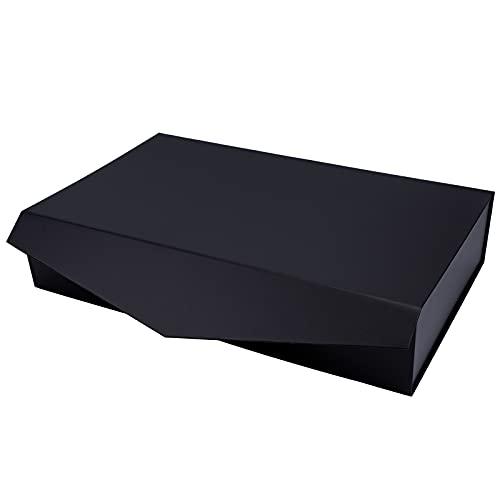 Holijolly Caja De Regalo Negra Con Tapas - Plegable Con Cierre Magnético Y 2 Piezas De Papel De Seda Blanco, Perfecta Para Cumpleaños, Fiestas, Vacaciones, Graduación, 48X29.97X9.9CM