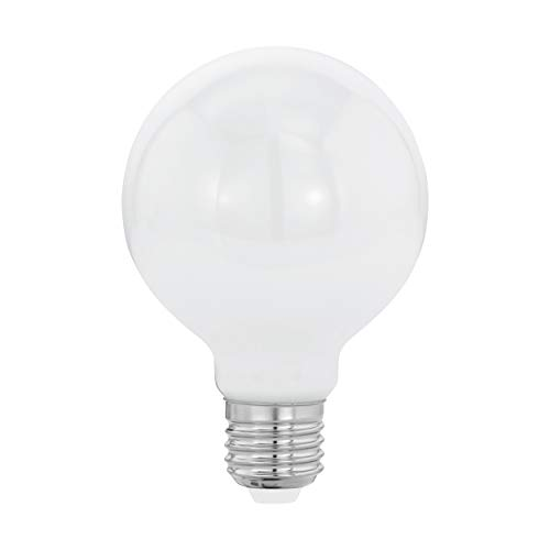 EGLO Bombilla LED E27, bombilla Globe Milky LED, 7 W (equivalente a 60 W), 806 lúmenes, LED E27, blanco cálido, 2700 K, bombilla LED, bombilla G80, diámetro 8 cm
