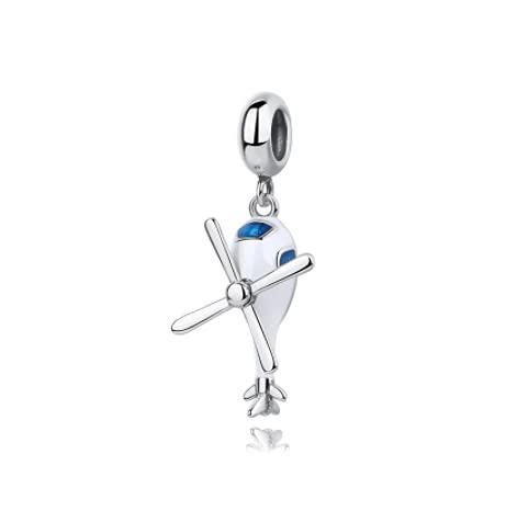 WMYDYBD 100% 925 Cuentas de Plata de Ley Charm Ajuste Pulsera Original Helicóptero Colgante Charms Beads para Mujeres DIY Joyería