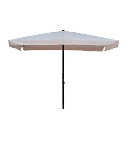 Ombrellone 2x3 mt x 2,4 h mt Rettangolare Struttura in acciaio Con manovella Copertura in poliestere 160 gr m² colore bianco