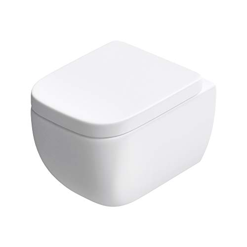 doporro Edle Design Toilette Aachen101 mit Silent Close Sitz Wand-WC Hänge-WC