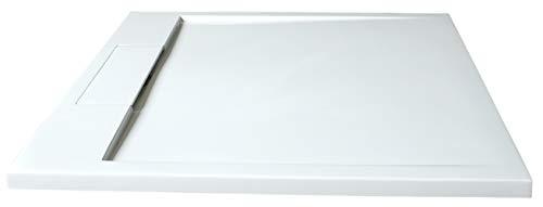 Bernstein Badshop Duschtasse flach Mineralguss-Duschwanne PB3086G - Weiß glänzend - 100x100x3,5cm