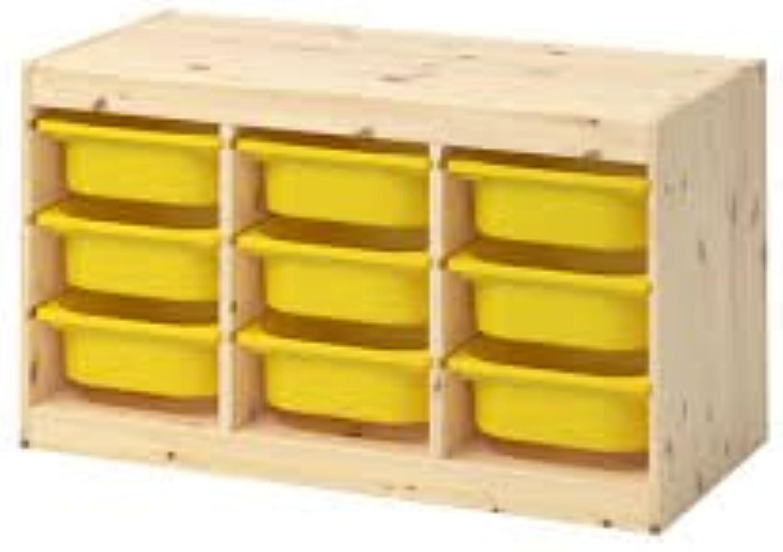 Aufbewahrung mit Boxen TROFAST Licht wei Kombination gebeizte Kiefer gelb