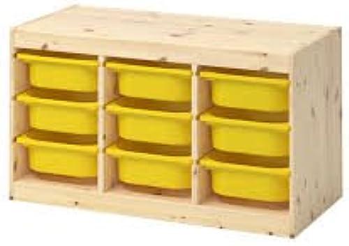 Aufbewahrung mit Boxen TROFAST Licht Weiß Kombination gebeizte Kiefer gelb