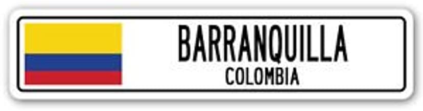 Vinyl USA Barranquilla, Colombia Street Sign Sticker Decal Wall Window Door Colombian Flag City Country Road Wall 8.25 x 2.0