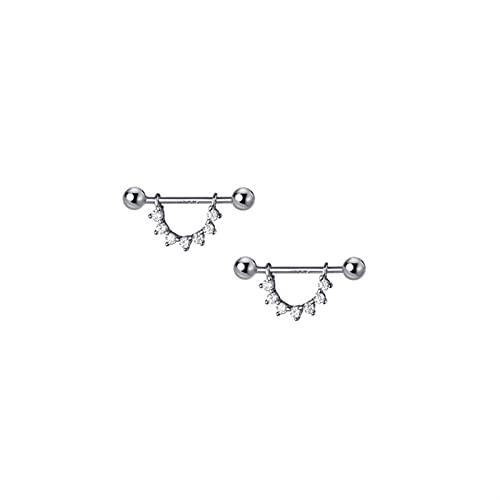 XIALIMY Pendientes para Joyería 925 Plata esterlina u shapescrew Stud Pendientes para Mujeres niñas Punk insero joyería (Metal Color : Silver Color)