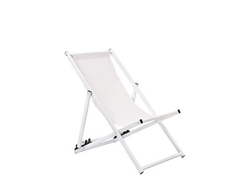 Bequemer cremeweißer Liegestuhl mit weißem Rahmen aus Aluminium und Polyester Locri