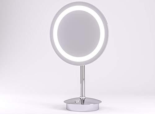 LED Kosmetikspiegel Talos Samos Ø 23 cm - Rasierspiegel mit 3-Fach Vergrößerung - zweistufigem Lichtfarbenwechsler (warmweiße/kaltweiße Lichtfarbe)