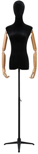 HongLianRiven Sastres maniquí Negro maniquí Femenino con Cabeza de Madera Brazos Forman Ajustable Vestido de los Vestidos de visualización (Color : S, Size : Style3)
