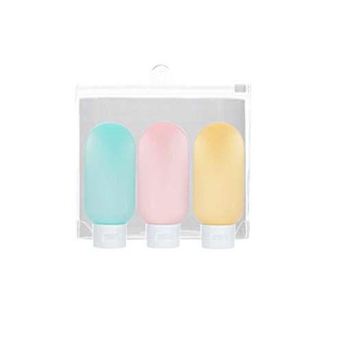 1 Set mit 3 Reise-Silikonflaschen, Mini-Flaschen, auslaufsicher, Kosmetik-Shampoo, Lotion, Duschgel, tragbare Dosierflasche für Geschäftsreisen, Fassungsvermögen: 60 ml, mehrfarbig