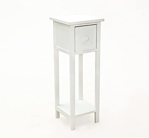 Avior Home Konsolentisch mit Schublade, Flurtisch mit Ablage, Holz Beistelltisch Nachtkonsole (White)
