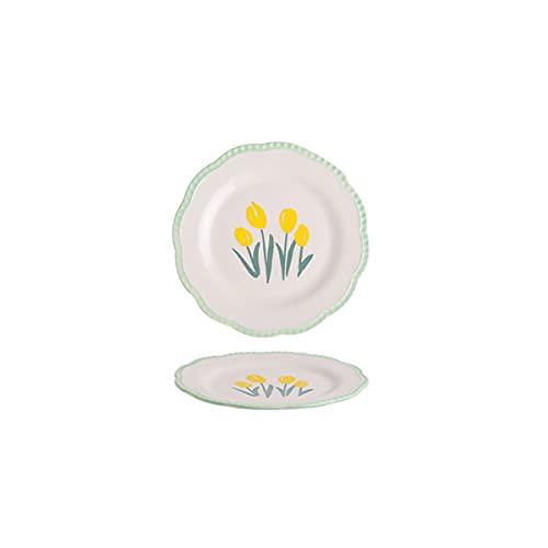DSFHKUYB Juego de 2 Platos de cerámica para Ensalada, Plato Lateral Pintado a Mano en vajilla de Aspecto rústico, Apto para ensaladas, Aperitivos, microondas y lavavajillas,8in