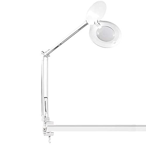 Lupa portátil para escritorio, 10 aumentos, con lente HD para lectura de libros, identificación de joyas, relojes, manualidades talladas y reparaciones, color blanco