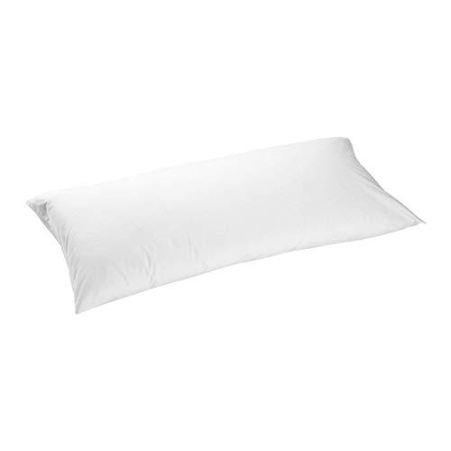 TEXTURAS HOME - Funda de Almohada Impermeable Y Transpirable Algodón 100% Blanco (Especial viscoelástico) (135_x_44_cm)