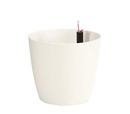 Dehner Pflanztopf Mila mit Selbstbewässerungs-System, Ø 30 cm, Höhe 26 cm, Kunststoff, weiß
