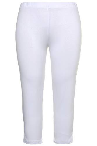 Ulla Popken Damen große Größen bis 76, Caprihose, Klassische 7/8 Hose in Uni, enganliegende Jersey-Hose, Leggings Slim Fit weiß 42/44 593724 20-42+