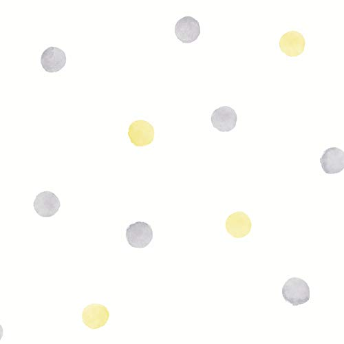 Holden Decor Watercolour Polka Dots Grey/Yellow 91002 behang