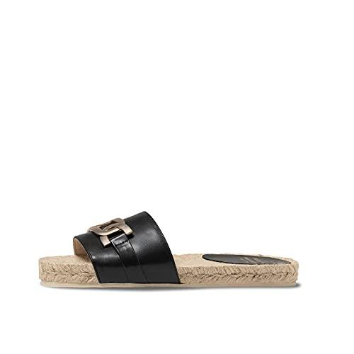 Fred Martin Collection, Damen aus Leder und Jute Black Leather Sandalen Größe 39
