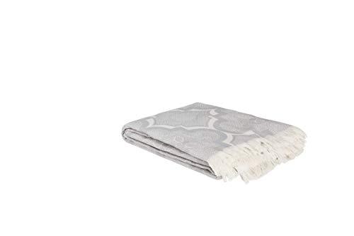 Mixibaby Sommerdecke leicht Tagesdecke Wohndecke Wendedecke Kuscheldecke Sofadecke, Farbe:grau, Design:Damask