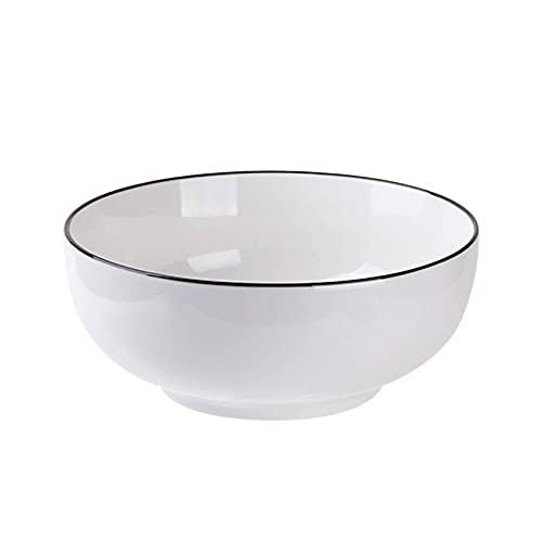 Ceramic Soup Bowls Set of 4, White Cereal Bowls Unbreakable Ramen Bowls Salad Bowls for Dessert Oatmeal Pasta, Dishwasher and Oven Safe -6 inch