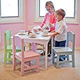 Top Selling Most Popular Kids Toddler Wooden Table Chairs Fun Work Activity Station- Beautiful Bright Pastel Colors- Perfect For Tea Parties Homework Games Hobbies More- Fun For Boys Girls All Ages