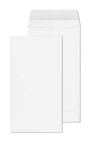 7 Coin Envelopes – 3.5 x 6.5 White #7 Mini Envelope Pack with Flap Closure & Gummed Seal – 28lb Paper Cardstock – Great for Money, Jewelry, Gift Cards, Small Parts & More – 55 Count