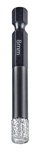 kwb Diamant Fliesen-Loch-Bohrer für Bohrmaschinen, Lochsäge mit E 6.3-Aufnahme, Diamont-Bohrkrone Durchmesser 8 mm