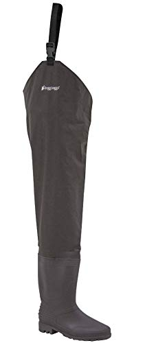 FROGG TOGGS Rana II Bootfoot PVC Hip Wader, Cleated, Brown, Size 11