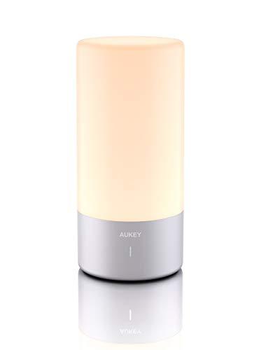 AUKEY Lámpara de Mesa, Regulable Lámpara de Noche de Atmósfera con Sensor de Tacto, Lámpara de Tabla de Decoración con Modo RGB y Luz Blanca Caliente, 256 Luces de Color