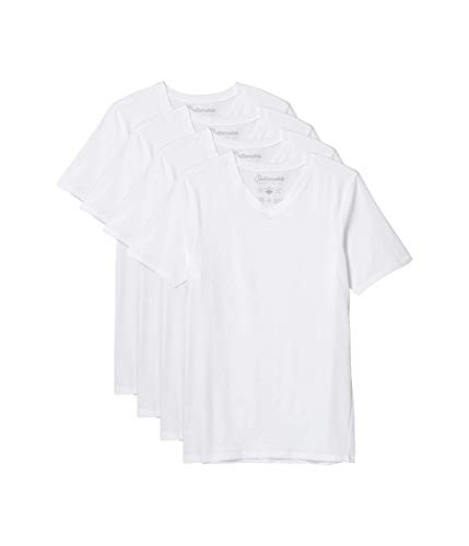 Pact Stretch-Fit V-Neck Undershirt 4-Pack White XL