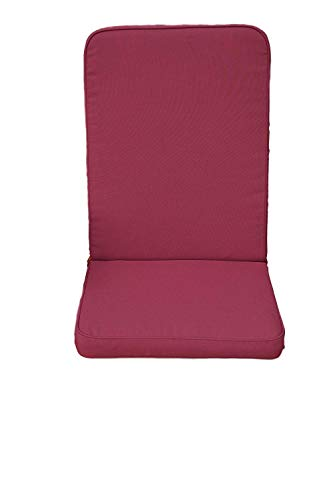 Field & Hawken – Burgundy Outdoor Chair Cushions with Back (Pack of 2) – Garden Chair Cushions High Back with Comfortable 50mm Filling, Removable Quick Drying High Back Garden Chair Cushions Covers for Easy Care and 180gsm Hard-Wearing Vibrant Colour Fabric