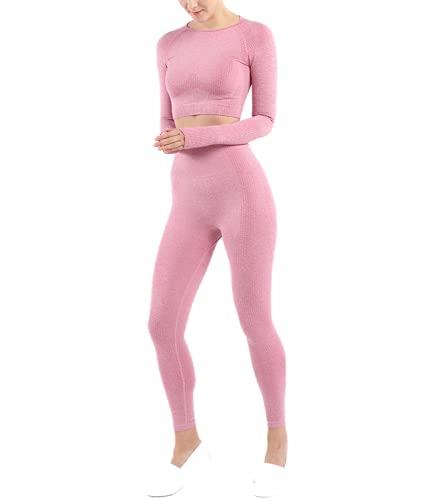 Conjunto Yoga 2 Piezas para Mujer Conjunto Deportivo Pantalones De Yoga Súper Elásticos Sin Costuras Camiseta Deportiva De Manga Larga Sin Costuras Mujer (Set 2 Rosa, S)