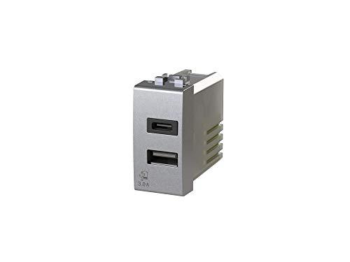 Bticino LivingLight Tech - Fuente de alimentación USB 3.0 (3 A, 2 salidas, con conector tipo A y tipo C)